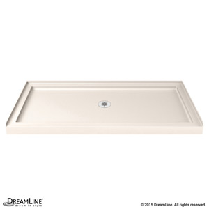 Single Threshold Shower Base in Biscuit Color. Center Drain