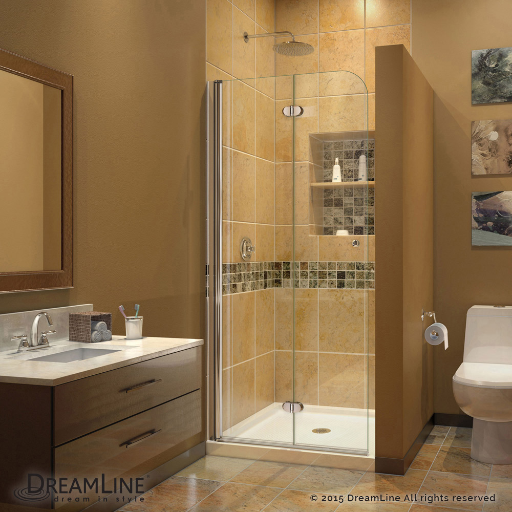 DreamLine Aqua Fold Shower Door 33.5 in. W x 72 in. H Clear Glass ...