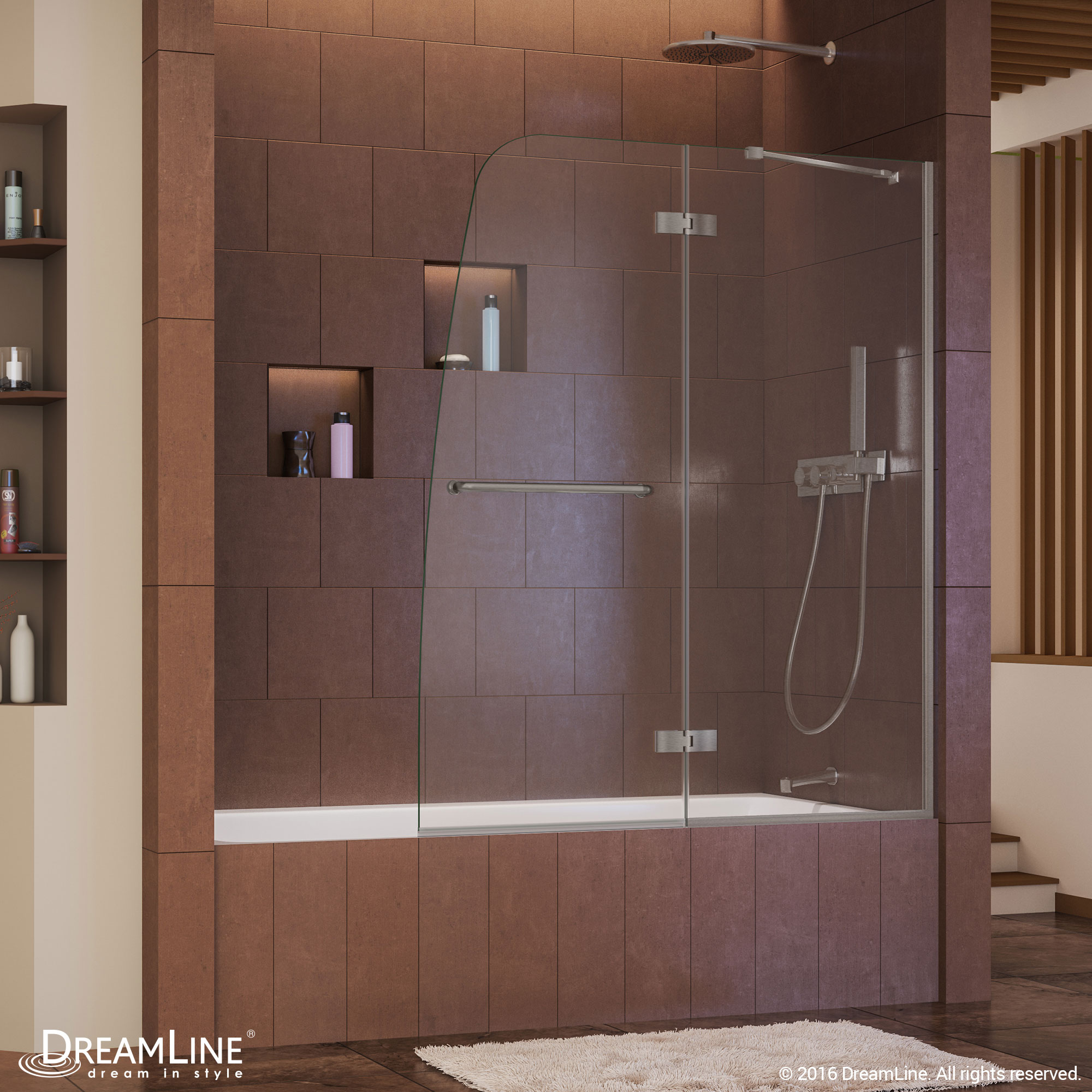 DreamLine Aqua Ultra 48 in. Frameless Hinged Tub Door, Clear 5/16 in ...