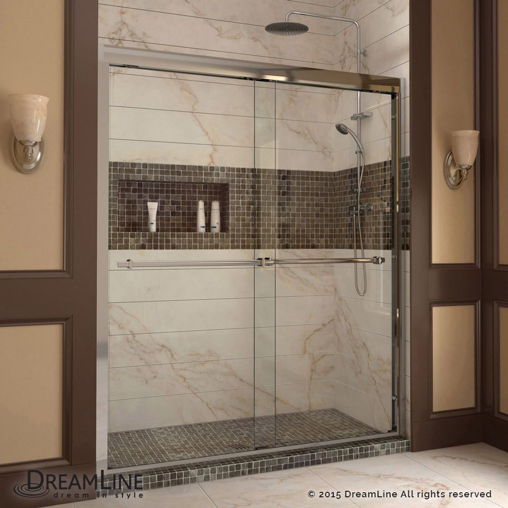 Dreamline Duet Frameless Bypass Sliding Shower Door Chrome