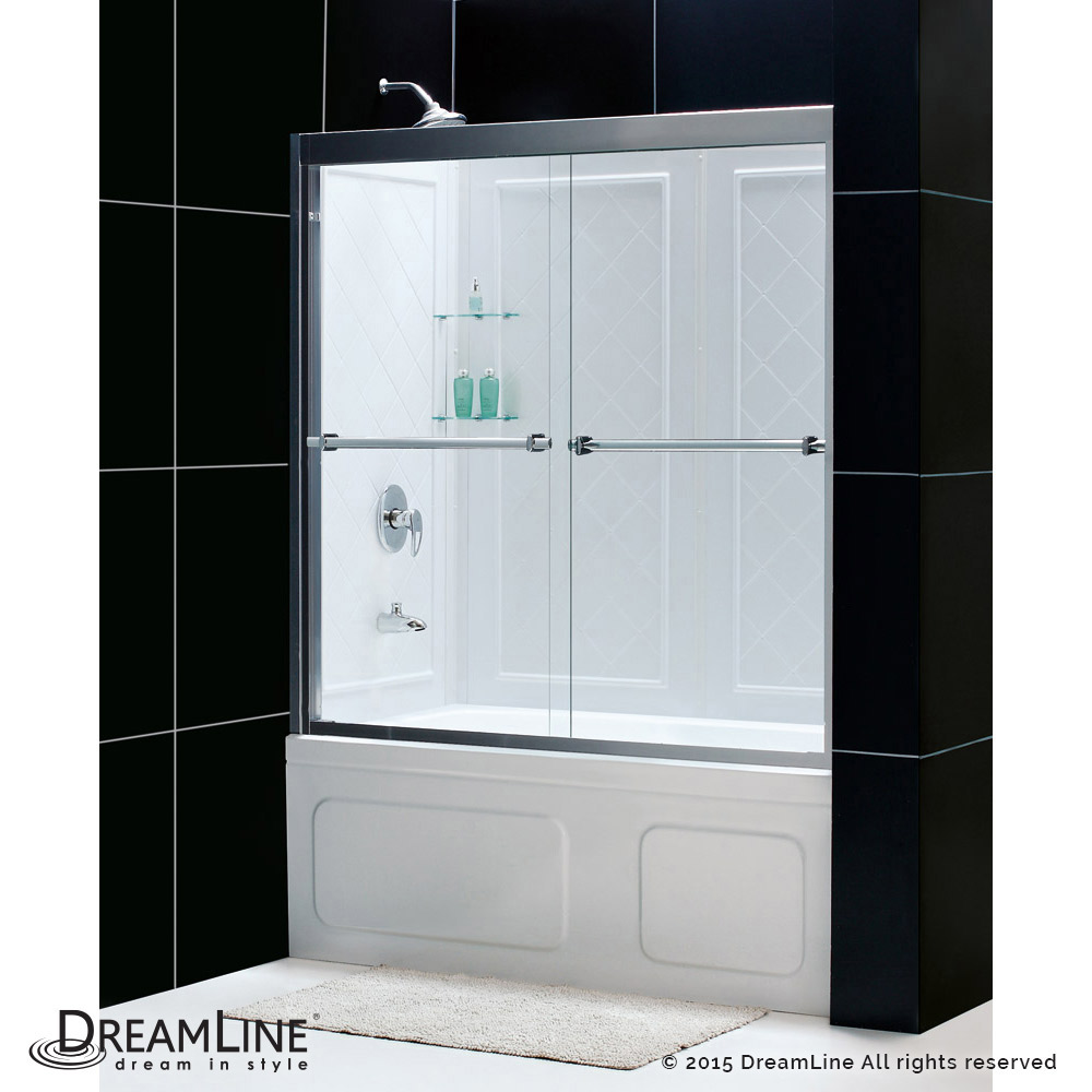 DreamLine showers: Duet Bypass Sliding Tub Door & Backwalls