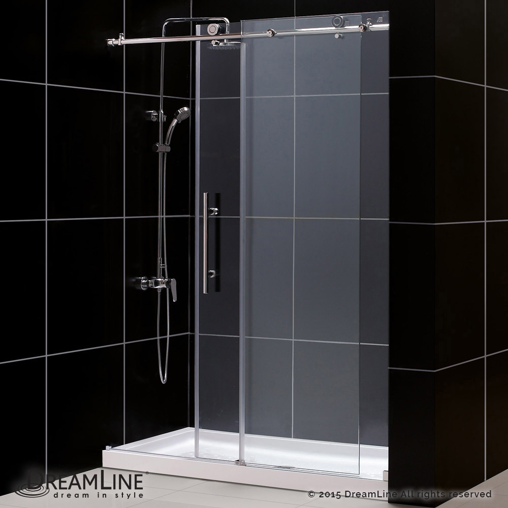 DreamLine showers: Enigma-X Sliding Shower Door & Base Kits