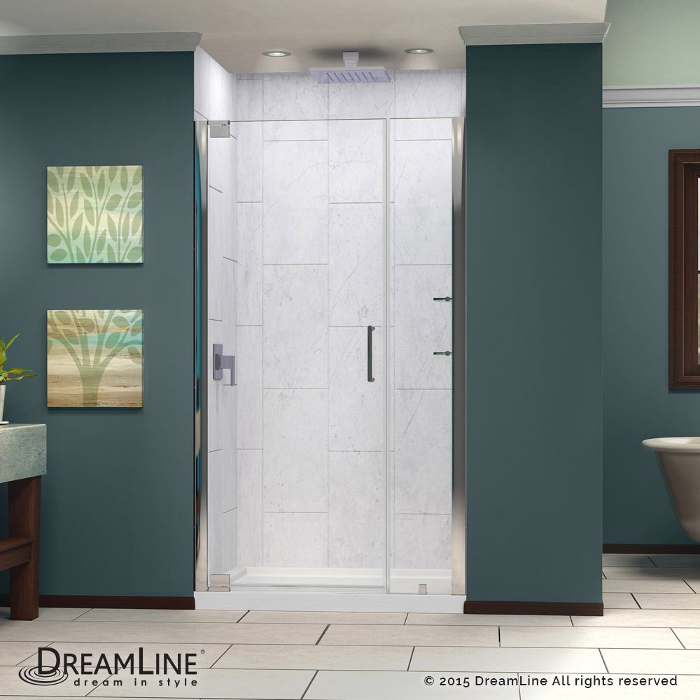 DreamLine Elegance 39 to 41 in. Frameless Pivot Shower Door, Clear 3 ...