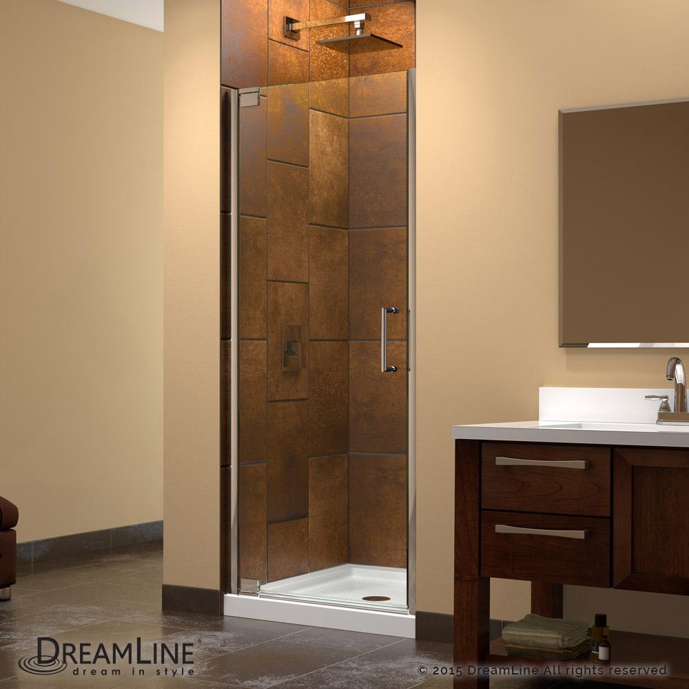 DreamLine Elegance 34 to 36 in. Frameless Pivot Shower Door, Clear 3 ...