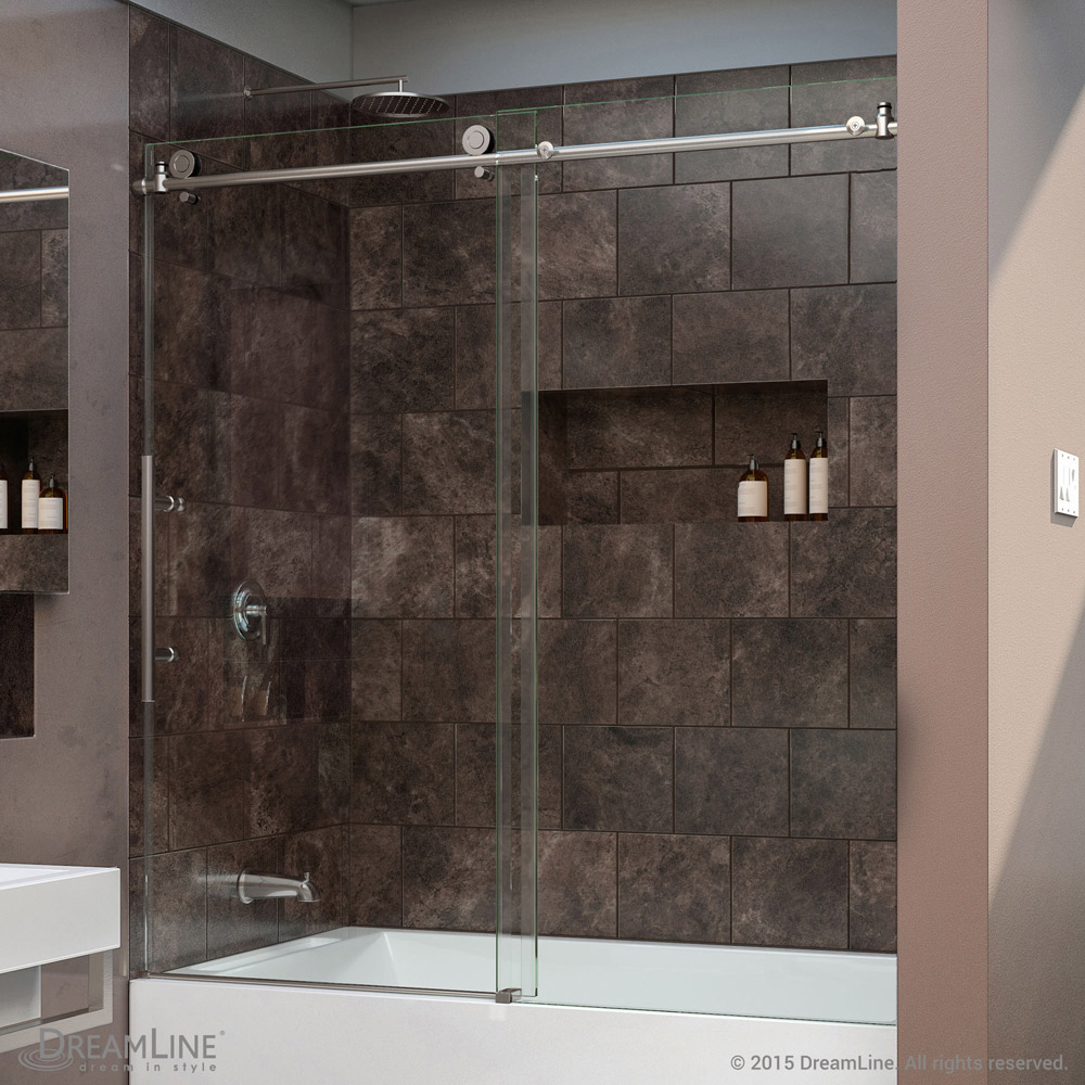 Dreamline enigma x 56 to 59 in frameless sliding tub door Sliding glass shower doors