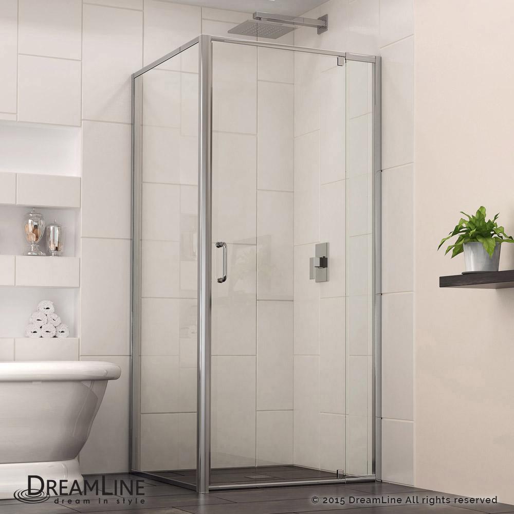 Shower Door with Return Panel & Flex Pivot Shower Door with Return Panel