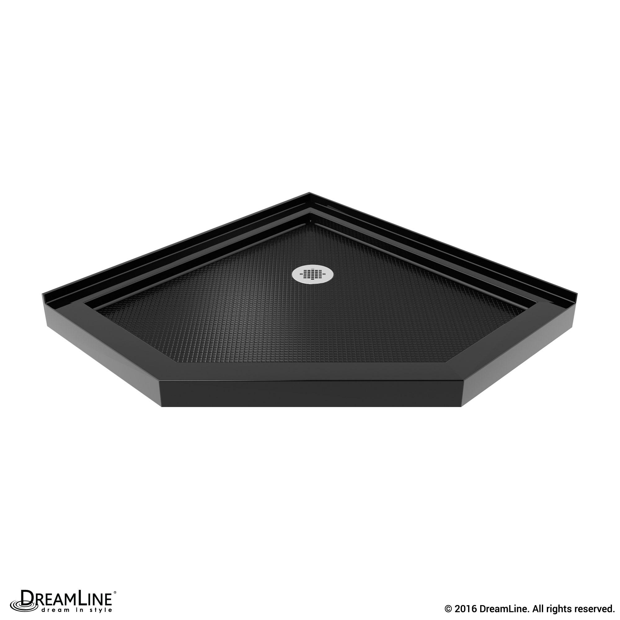 DreamLine SlimLine 38 in. by 38 in. Neo-Angle Shower Tray in Black ...