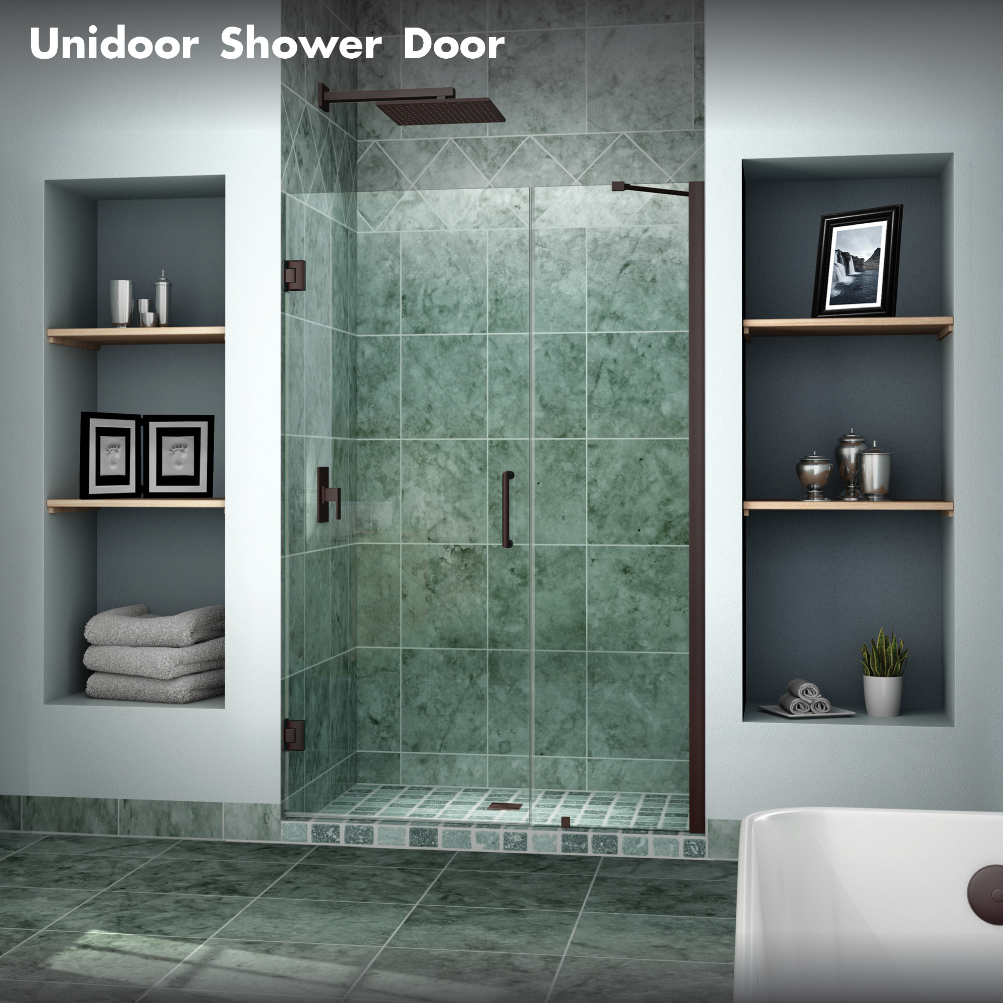 Unidoor & DreamLine showers: Unidoor Hinged Shower Door
