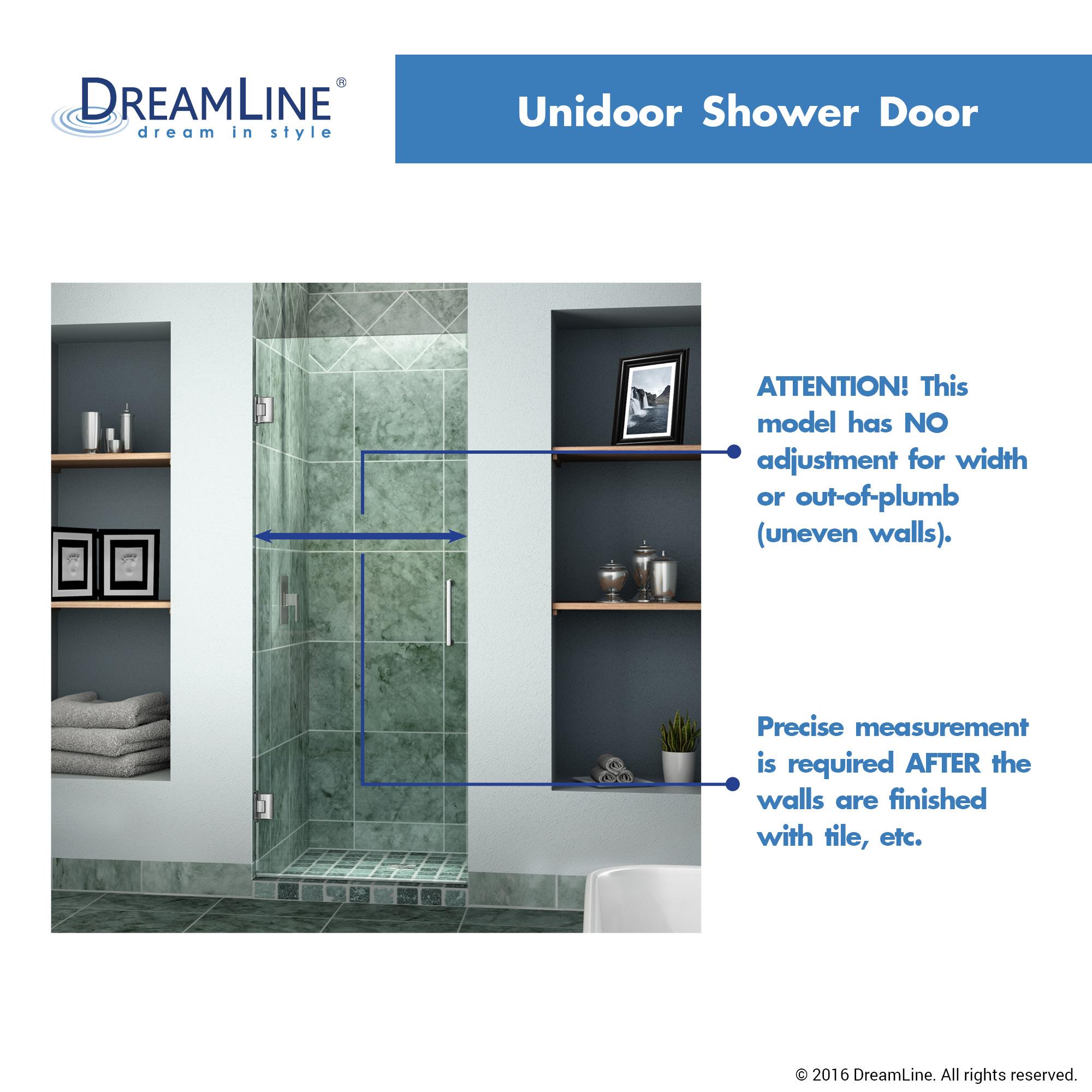 DreamLine-Unidoor-30-in-Frameless-Hinged-Shower-Door-  sc 1 st  eBay & DreamLine Unidoor 30 in. Frameless Hinged Shower Door Clear 3/8 ... pezcame.com