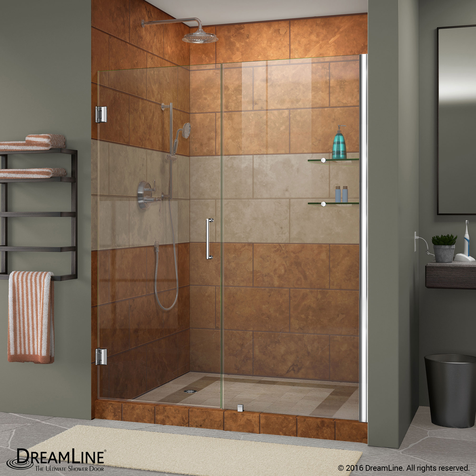 DreamLine Unidoor Min 47 in. to Max 48 in. Frameless Hinged Shower ...