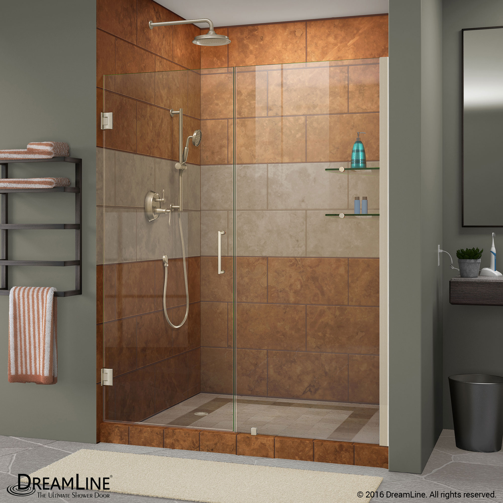 Image is loading DreamLine-Unidoor-Min-47-in-to-Max-48- & DreamLine Unidoor Min 47 in. to Max 48 in. Frameless Hinged Shower ...