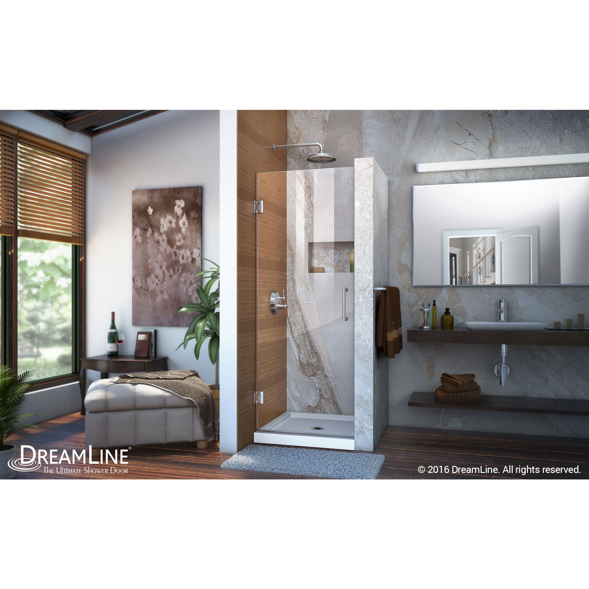 Interior clear glass door - Dreamline Unidoor 30 In Frameless Hinged Shower Door