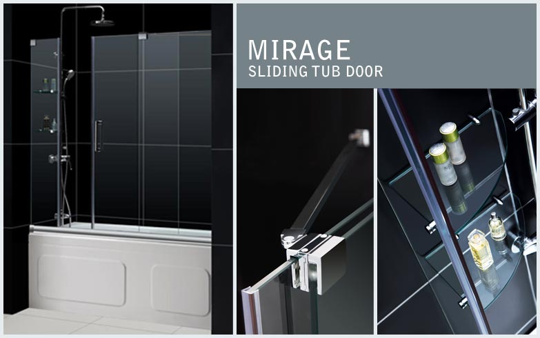 MIRAGE FRAMELESS SLIDING TUB DOOR