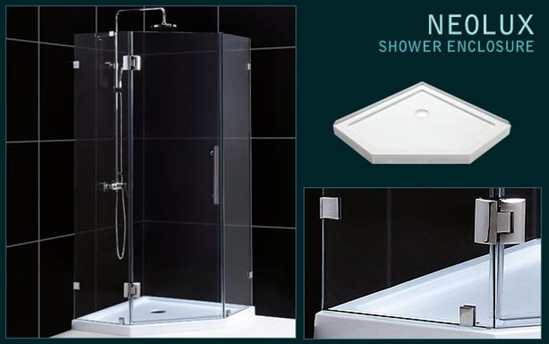 Frameless neo-angle shower enclosure