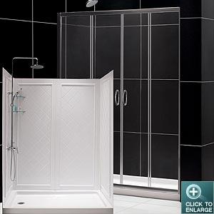 visions sliding shower door base backwall kits. Black Bedroom Furniture Sets. Home Design Ideas