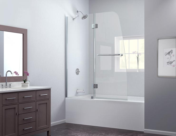 Aqua Tub Door  Chrome Finish. Aqua Tub Door  Frosted Glass Bathtub Door  DreamLine Frameless Tub