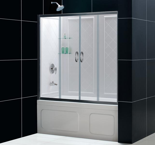 60 dreamline visions sliding tub shower door backwalls combo