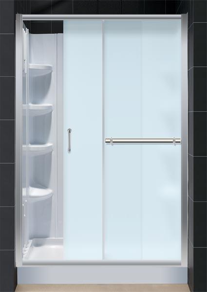 infinity plus shower door with qwall03 u0026 trio base 48 in
