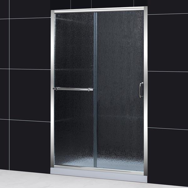 infinity plus sliding door 48 in rain glass