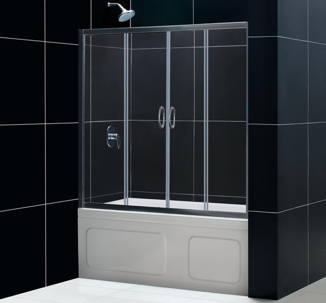 dreamline visions 60 x 58 sliding tub shower door 1 4 glass ebay