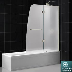 DreamLine Showers: Aqua Tub Door Frosted Glass. Frameless Bathtub Door.