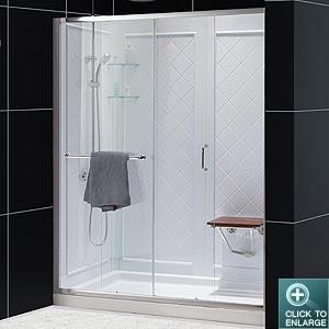 infinity z sliding shower door base backwall kits. Black Bedroom Furniture Sets. Home Design Ideas