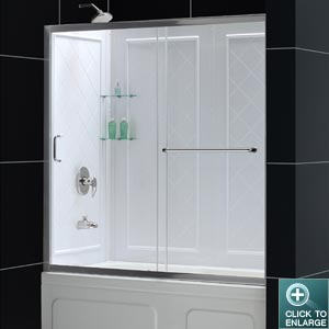 Infinity-Z Tub Door (Chrome Finish) & Infinity-Z Sliding Tub Door and QWALL-TUB Kit pezcame.com