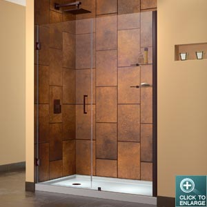 "UNIDOOR 30"" oil rubbed bronze finish Shower Door w/ glass shelves"