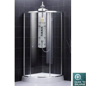 Crystal Shower Enclosure with Chrome Finish